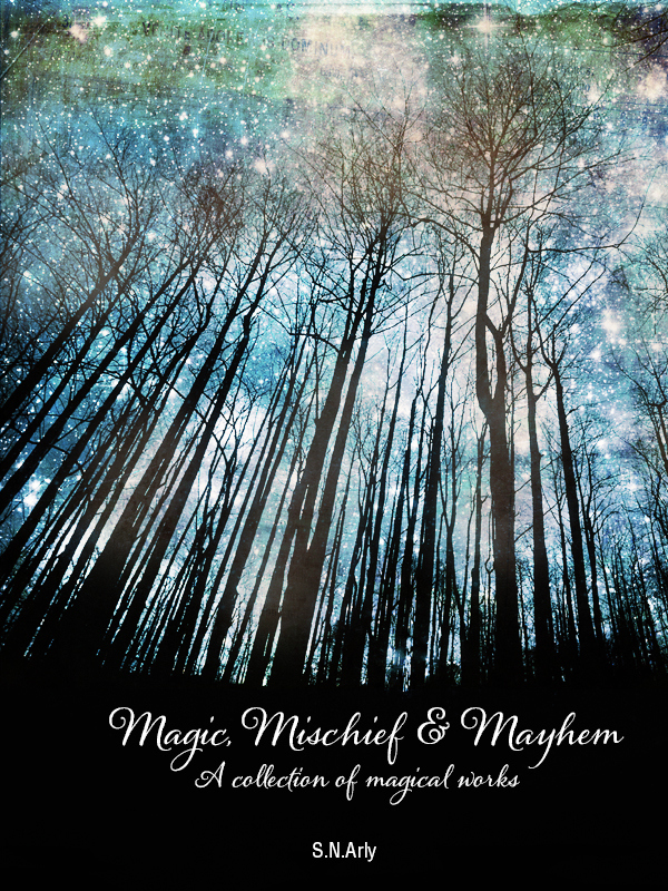 Short story anthology cover featuring trees and a starry sky.
