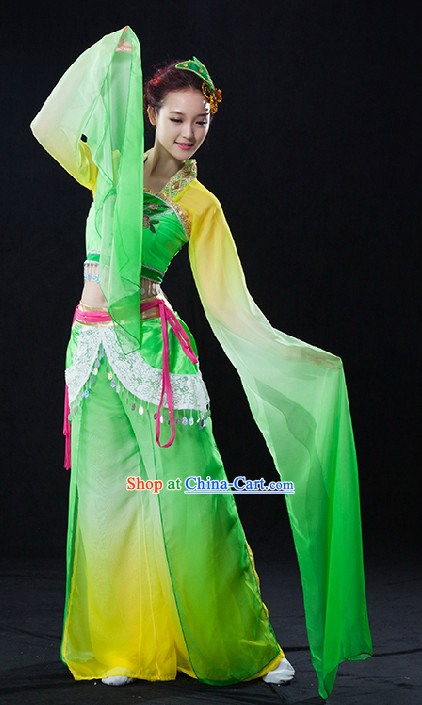Traditional dance costume featuring water sleeves.