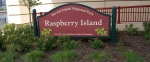 Sign for Raspberry Island in St. Paul, MN.