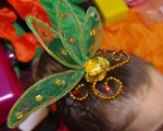 Green and gold Chinese dance headpiece.