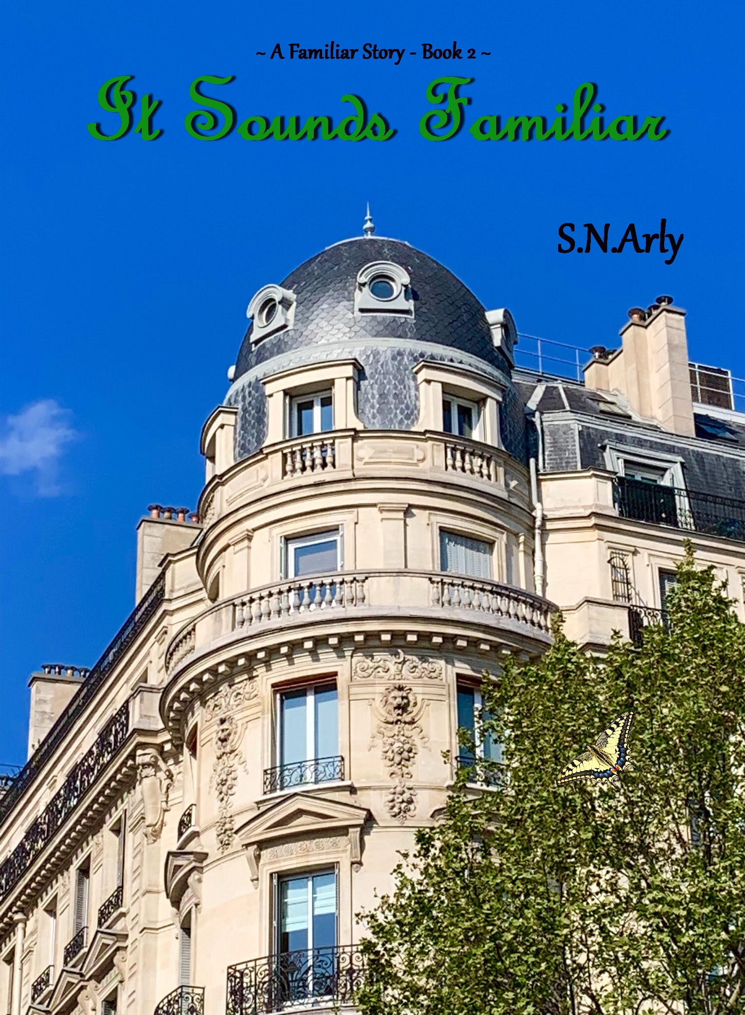 Cover of the book It Sounds Familiar, featuring a blue sky and a classical French building.