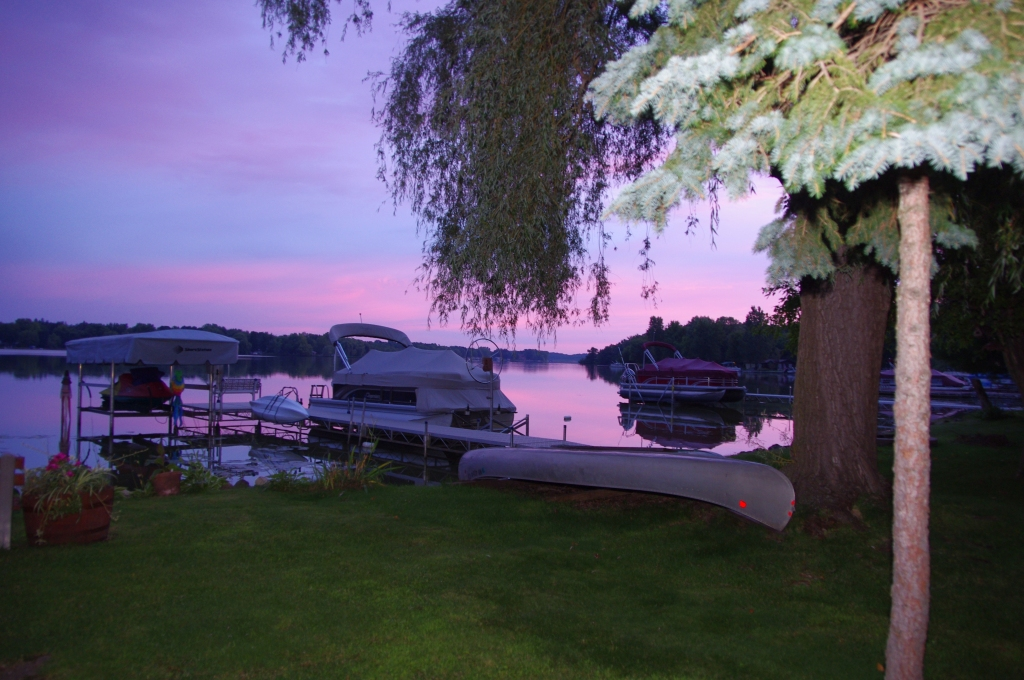 Pink sunrise over the lake